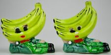 ** Vintage Anthropomorphic Banana Head Salt & Pepper Shakers Japan MCM KITSCH **