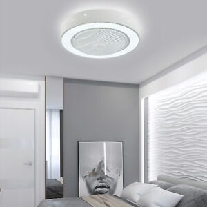22in Modern Flush Mount Ceiling Fan w/Dimmable LED Light + Remote Control