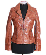 Ladies B3 Brown / Beige Bomber Real Merino Shearling Sheepskin Leather Jacket 14