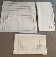 13 Pc. Vintage Madeira Style Linen Placemats, Napkins and Runner
