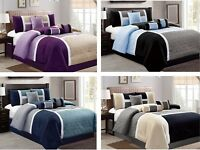 DCP 7 Piece Luxury Quilted Patchwork Comforter  Sets- Queen, King Cal King Size