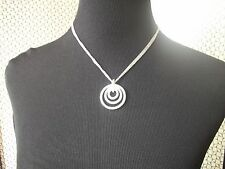 NOLAN MILLER NECKLACE Silvertone 3 Crystal Circles on 3 stands Chain Free Ship