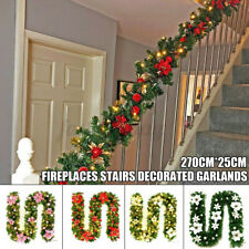 2.7 m Christmas Rattan Cane Garland with LED Lights Family Hotel Christmas Decor