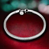 Fashion Unisex 3mm Snake Chain Rope Sterling Silver Plated Bracelet Jewelry T