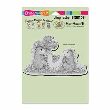 HOUSE MOUSE RUBBER STAMPS CLING DANDELION BOUQUET NEW CLING STAMP