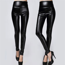 Thickened Leggings Skinny Pants EBmen Leather Warm Pants High Waisted TrouserEOA