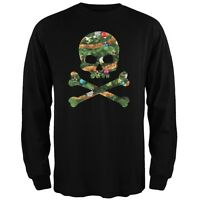 Skull And Crossbones Christmas Tree Cut Out Black Adult Long Sleeve T-Shirt