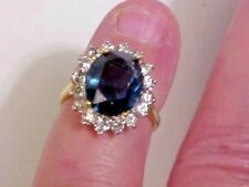 quality Cocktail Ring Sz 6 14k GE with blue & clear stones Made in USA