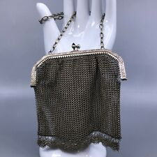 Antique Chainmail Evening Bag with Blue Glass Cabochon Clasp 4 3/8 in