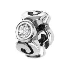 MATERIA Premium Beads Spacer Zwischenelement 925 Silber mit Zirkonia weiß + Box