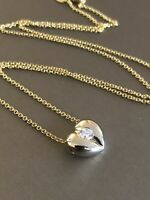 18ct White Yellow Gold Solitaire Diamond Necklace 0.20ct Heart Pendant 9ct Chain