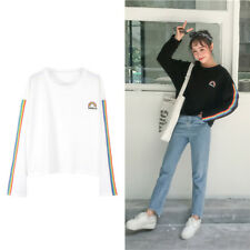 Fashion Rainbow Letters Printed Shirt Long Sleeves Loose Causal Blouses Women 1x