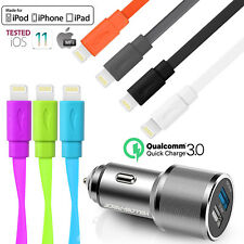 2-in-1 Flat Apple MFI Certified Lightning to USB Cable Color & 5.4A Car Charger