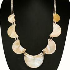MOON GOLD MOTHER OF PEARL SHELL LINKED LONG necklace