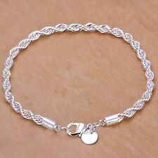 Plata trenzado pulsera Cuerda Cadena 925 estampado señoras joyas de terciopelo Bolsa De Regalo