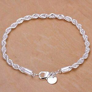 Silver Twisted Bracelet Rope Chain 925 Stamped Ladies Jewellery velvet gift bag