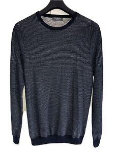 NEW Primark Pure Cotton Waffle Knit Crew Neck Sweatshirt Jumper Medium Blue Warm
