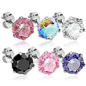 6 Claw Round Brilliant Stud Earrings