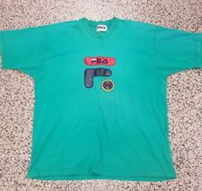 Vintage FILA Made In Italy Mens Graphic T Shirt Sz. XL SS - Green Red Blue