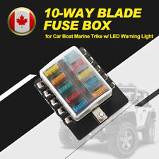 10-Way Blade Fuse Block Box LED Illuminated w/LED Warning Light for Marine Trike