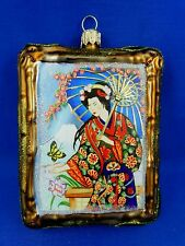 Japanese Geisha Japan Crane Picture Glass Christmas Tree Ornament Travel 011330