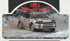 1993 SWEDISH RALLY TOYOTA CELICA TURBO 4WD WRC VICTORY ORIGINAL PERIOD STICKER