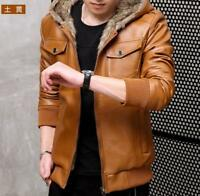Mens Hooded Faux Fur Lined Jacket PU Leather Winter Warm Coats Fall Casual Black