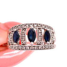 Ring in 10k White Gold 0.50ct Blue Sapphire and Diamond Right-Hand