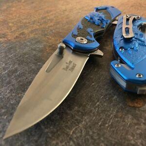 """8"""" Dark Side SKULL Tactical Spring Assisted Open Folding Pocket Knife Blade New"""