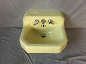 Vtg Mid Century Chiffon Yellow Porcelain Cast Iron Shelf Back Sink Bath 440-20E