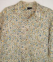 Mens Cambridge Classics Shirt Vintage 90s Mod Geometric Print Short Sleeve XL