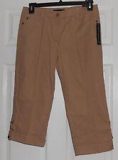 Larry Levine Stretch Safari (Beige) Roll Up/Roll Down Cuff Crop Jeans Size 8 NWT
