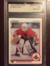 New listing 1990 Upper Deck Ed Belfour Rookie Card FGS Gem Mint 10 NHL Chicago Blackhawks