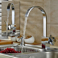 360° Swivel Waterfall Spout Kitchen Sink Mixer Faucet Chrome Basin Vessel Tap US