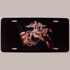 USMC United States Marine Corp Flag Eagle Emblem License Plate Tag veteran LM012