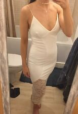 White Cream Long Midi Dress Lace Strap Bodycon