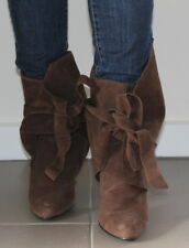 100C brown faux suede wrap around ankle boots women Eur 39 US 8 UK 6 USED