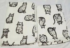 ARTISAN DE LUXE Set Of 2 Cotton Cat Printed Hand Towel Set  White/Charcoal NWT