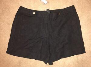 White House Black Market Black Linen Blend Short Size 14 NWT