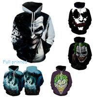 Batman Smile Joker Print Men's Hoodie Pullover Sweater Jumper Coat Sweatshirt