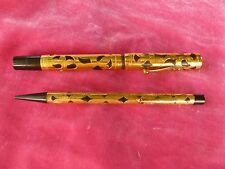 VINTAGE 18K GOLD FILLED FILIGREE WATERMAN FOUNTAIN PEN AND PENCIL SET