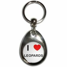 I Love Heart Leopards - Chrome Tear Drop Double Sided Key Ring New