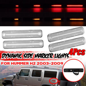 For Hummer H2 F+R Clear Lens Sequential Dynamic LED Side Marker Light Amber Red