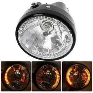 "7"" Motorcycle Round Halogen Headlight Projector Blinker Yellow Turn Signal Light"