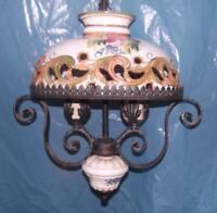Antico elegante lampadario ferro battuto ceramica stile Liberty 2 luci x salotto