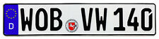 VW Wolfsburg Front German License Plate (wob) by Z Plates With Unique Number