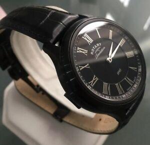 Men's Genuine Rotary Revelation Reverso Watch Swiss Black Roman Leather GS02968
