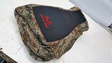 Honda FOREMAN 400 450  REALTREE seat cover black gripper & camo red logo  stitch