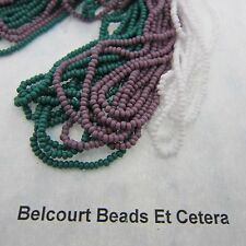 68 Grams Dark Green White & Mauve Opaque Czech Glass Preciosa Seed Beads Size 10