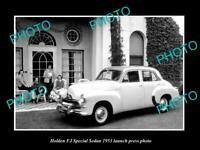OLD POSTCARD SIZE PHOTO OF GMH 1953 FJ HOLDEN SEDAN LAUNCH PRESS PHOTO